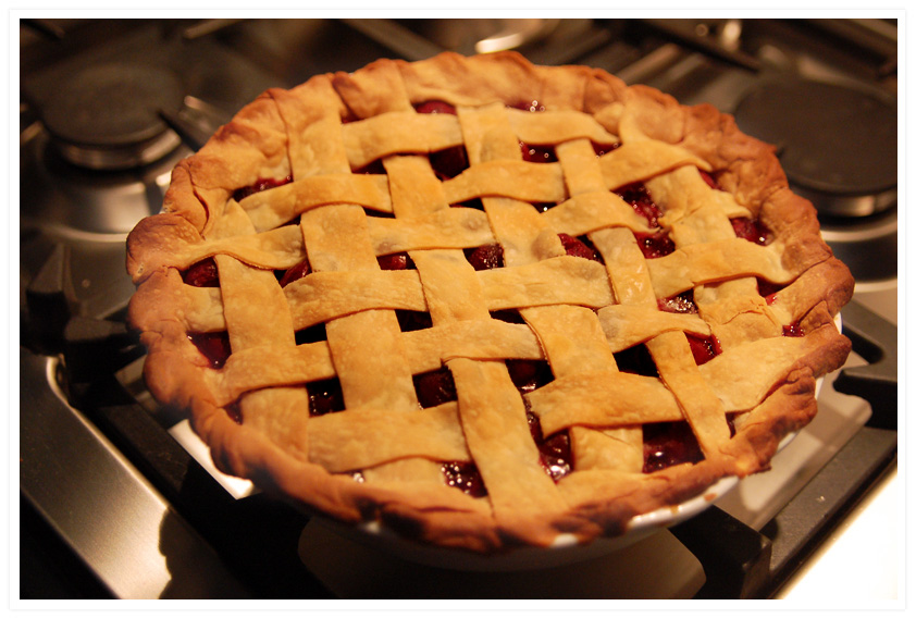 Pie. Cherry pie with fresh cherries. Sigh in happiness. Reach for the ...